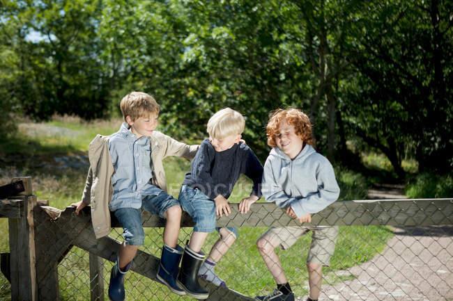 Дети лазают по деревянному забору на открытом воздухе — стоковое фото