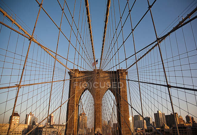 Suspension wires on urban bridge — Stock Photo
