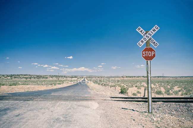 Railroad crossing in New Mexico — Stock Photo