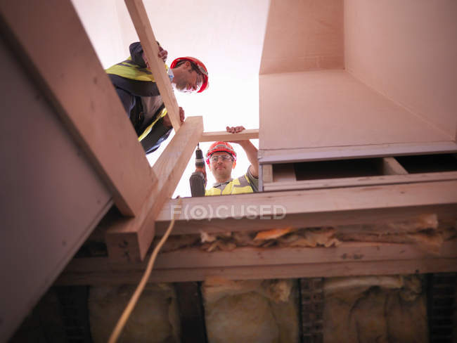 Constructor y administrador del sitio en la escalera - foto de stock