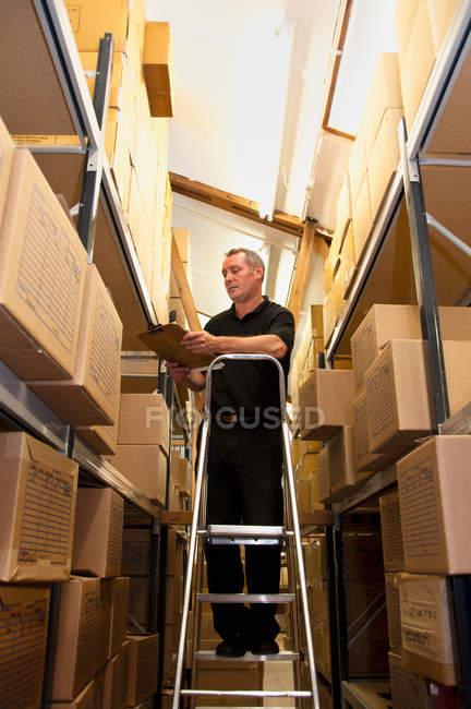 Робітник укладання картонні коробки — стокове фото