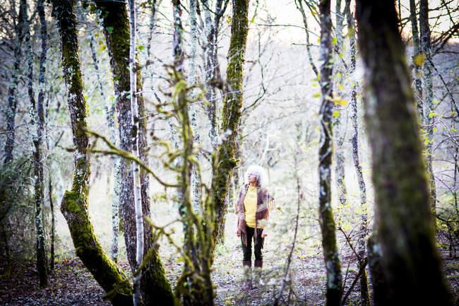 Femme mûre flânant dans les bois — Photo de stock