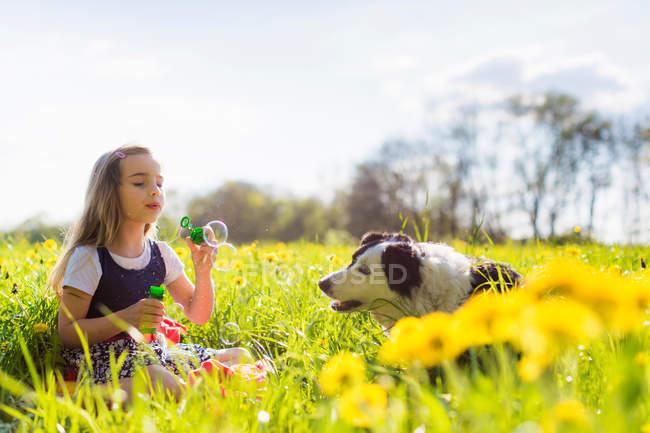 Fille soufflant des bulles avec chien dans le champ — Photo de stock