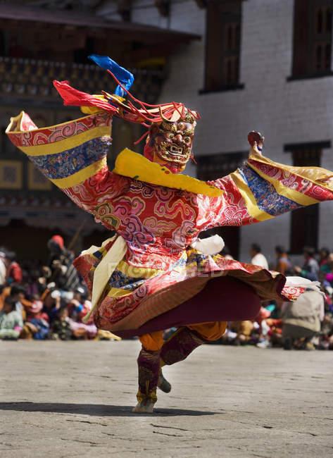 Maskierte tanzen auf Festival, Punakha, Bhutan — Stockfoto