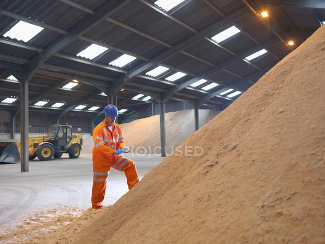 Trabalhador inspecionando chip de madeira na loja — Fotografia de Stock