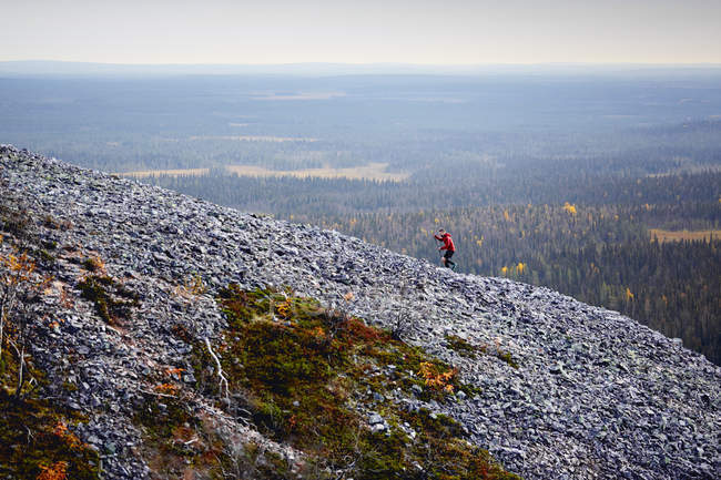 Trail runner ascendente rocciosa ripida collina, Kesankitunturi, Lapponia, Finlandia — Foto stock