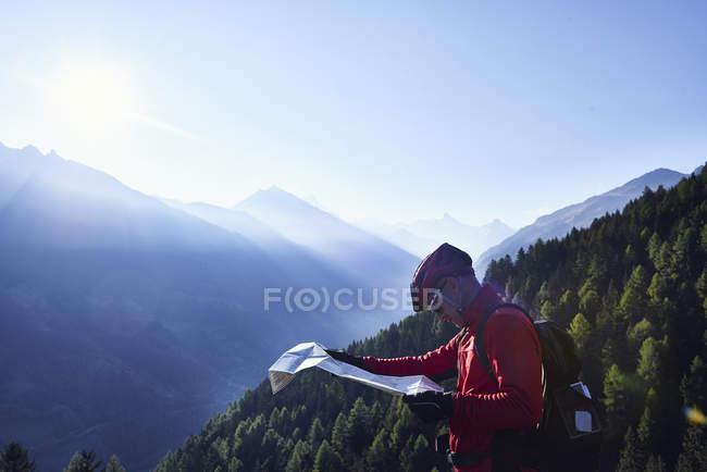 Mappa di Mountain Bike Holding, Vallese, Svizzera — Foto stock