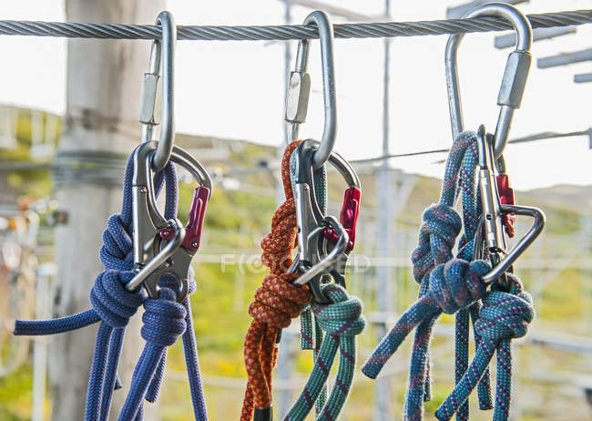 Safety carabiners at high rope access course — Stock Photo