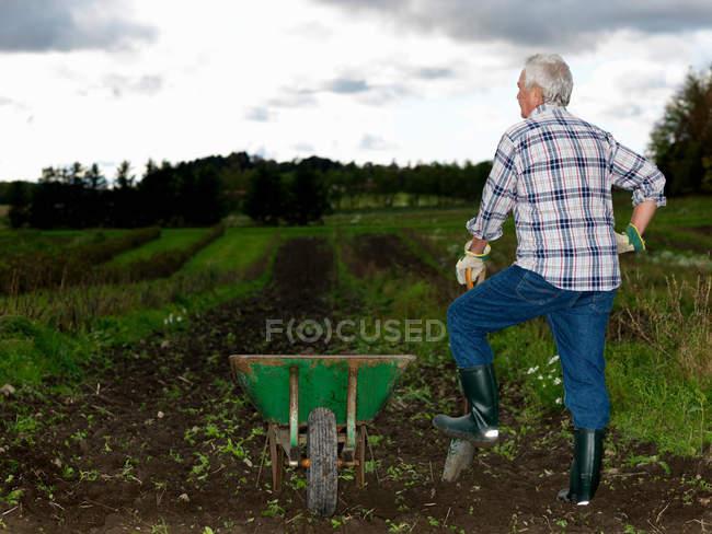 Человек отдыхает на лопате — стоковое фото