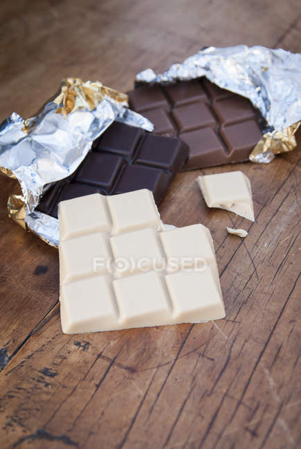 Différentes barres de chocolat — Photo de stock