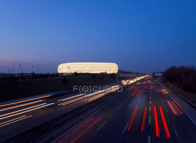 Time lapse view of Autobahn traffic at nighttime — Stock Photo