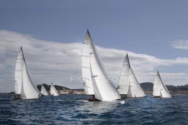 Fleet of sailing yachts — Stock Photo