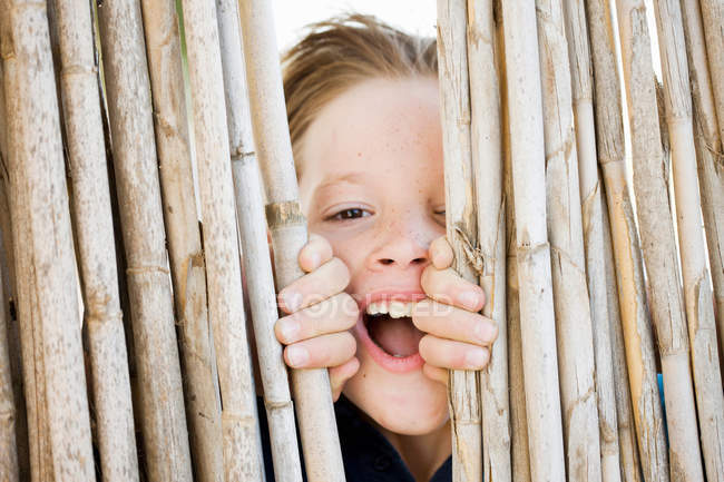 Boy smiling behind fence, focus on foreground — Stock Photo