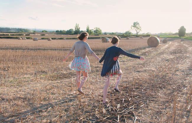Visão traseira de mulheres correndo no campo de feno — Fotografia de Stock