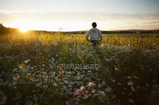 Человек, наслаждаясь закатом на поле, село Sarsy, Свердловская область, Россия — стоковое фото