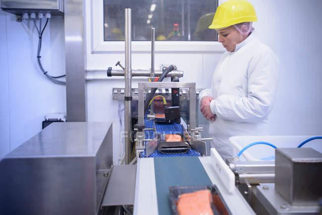 Рабочий осматривает упаковки филе лосося на пищевой фабрике — стоковое фото