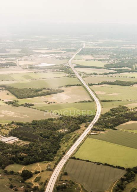 Vista aerea dall'aereo di rotta da Berlino a Copenaghen — Foto stock