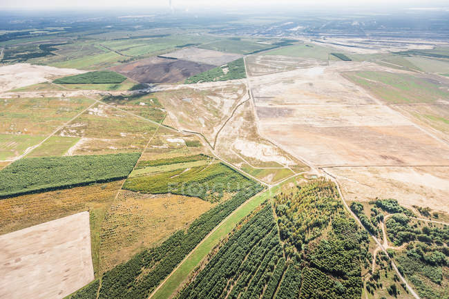 Aerial view of fields at Welzow — Stock Photo