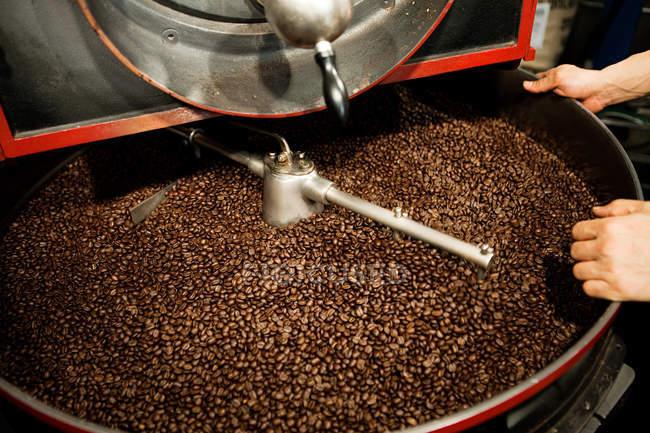 Кофейные зерна в кофемолке и человеческих руках, обрезанный выстрел — стоковое фото