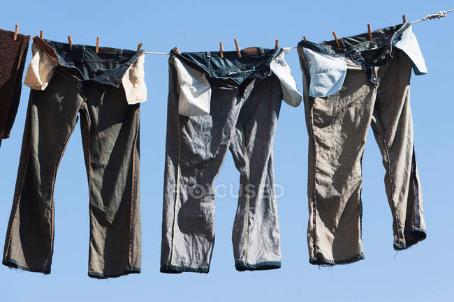Trousers on clothes line — Stock Photo