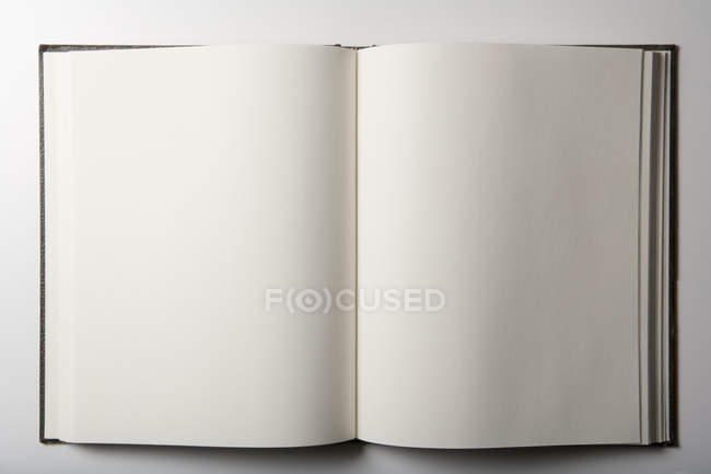 Vista superior del cuaderno abierto vacío sobre fondo blanco - foto de stock