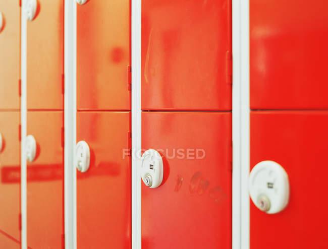 Red school lockers, close up shot — Stock Photo