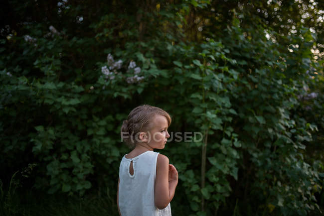 Menina em arbustos verdes no fundo — Fotografia de Stock