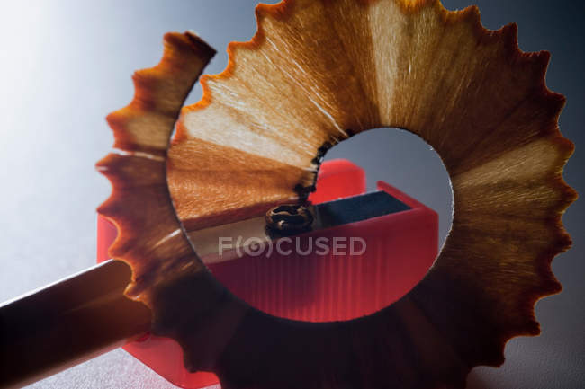 Pencil being sharpened with pencil sharpener — Stock Photo