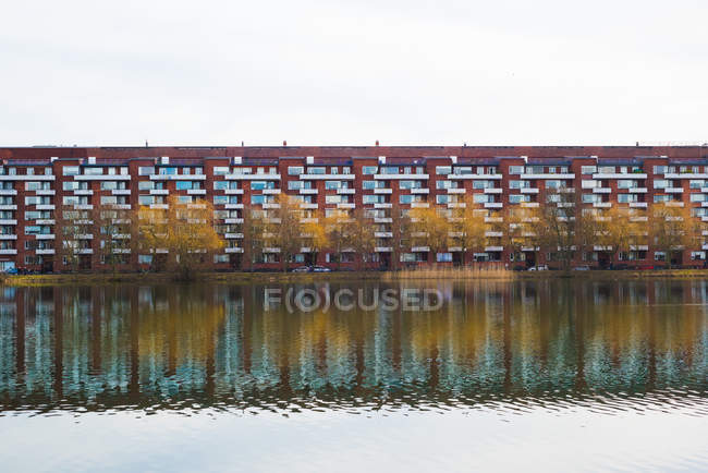 Observing view of Apartments on river waterfront, Copenhagen, Denmark — Stock Photo