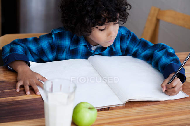 Boy doing homework ath the table — Stock Photo