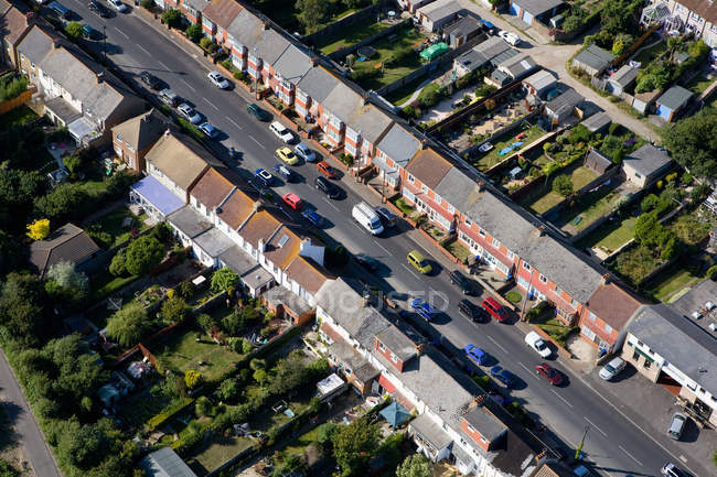 Aerial view of brighton houses and road traffic — Stock Photo