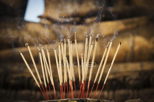 Close up of Incense, Sukhothai Historical Park, Sukhothai, Thailand — Stock Photo