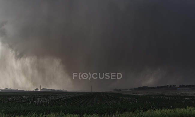 Vista de violento tornado de cunha envolto em chuva rasga terras agrícolas no Kansas rural — Fotografia de Stock
