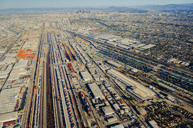 Aerial view of various shipping containers in harbor — Stock Photo