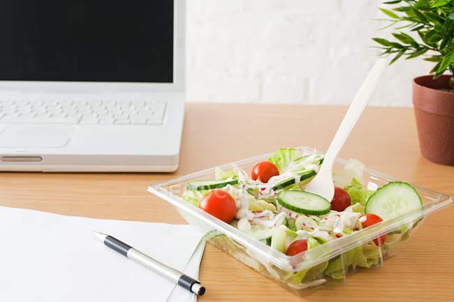 Салат в миске рядом с ноутбуком — стоковое фото