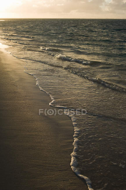 Surf waves on sandy shore during sunset — Stock Photo