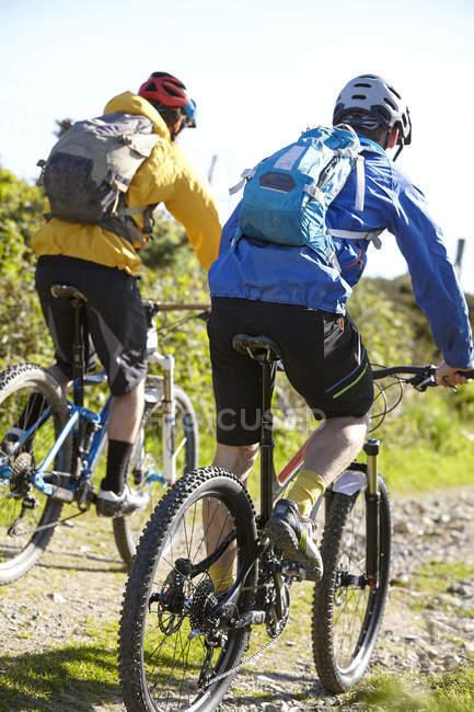 Вид сзади велосипедистов Велоспорт на грунтовой дороге — стоковое фото