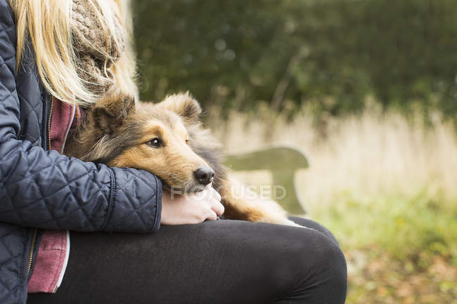 Деталь девушки-подростка, сидящей на деревенской скамейке с собакой — стоковое фото