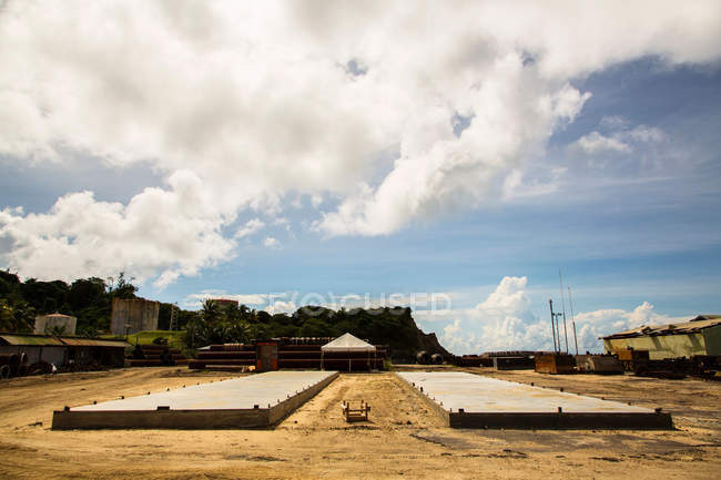 Foundations laid at construction site — Stock Photo