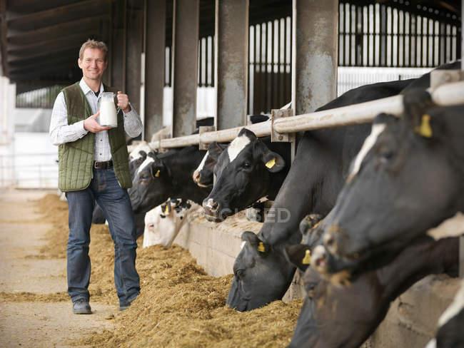Retrato de agricultor segurando jarro de leite com vacas que se alimentam em galpão leiteiro — Fotografia de Stock