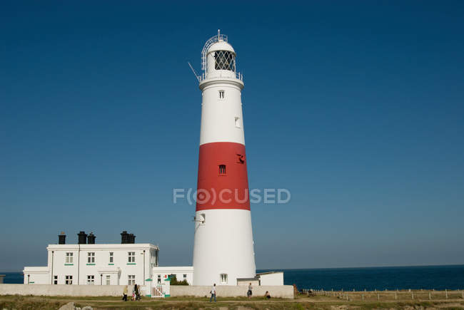 Distant view of Portland bill lighthouse — Stock Photo