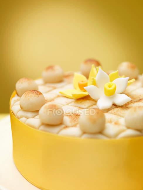 Cierre para arriba del pastel decorado - foto de stock