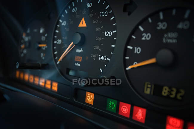 Close up of dashboard in car with differential focus — Stock Photo
