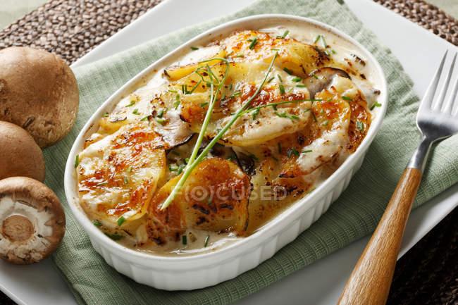 Cazuela de patatas en el plato - foto de stock