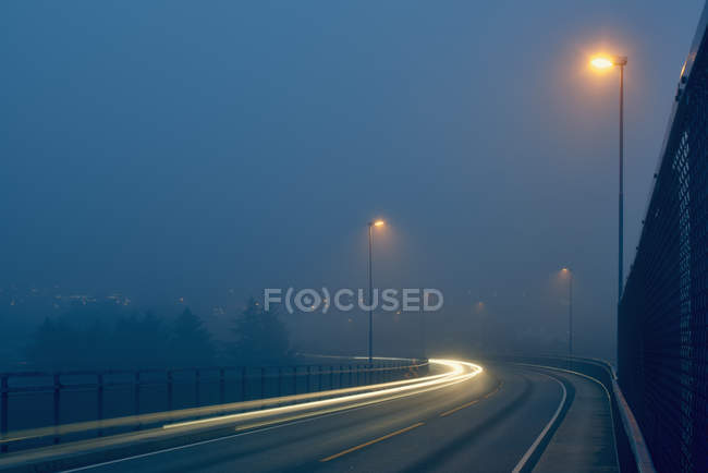 Light trails on misty road illuminated by street lights — Stock Photo