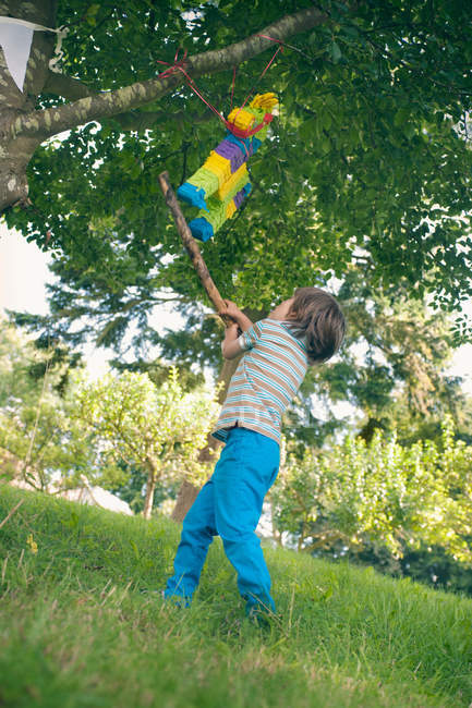 Chico balanceándose en piñata en fiesta - foto de stock