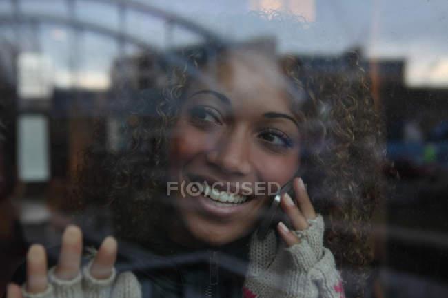 Woman wearing fingerless gloves — Stock Photo