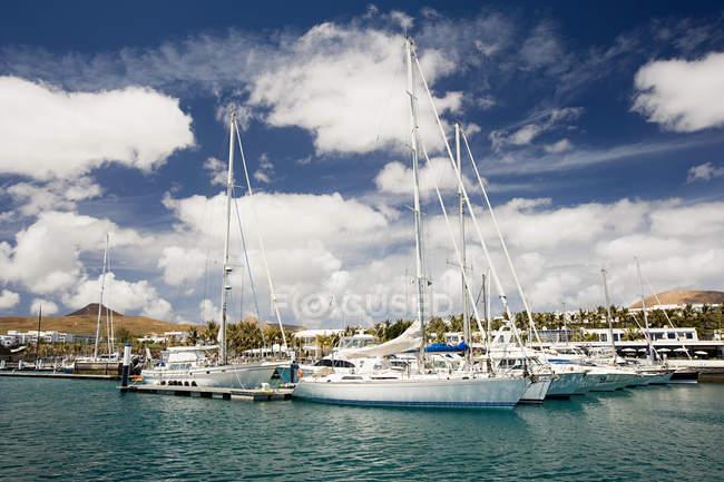 Yachts moored in Puerto Calero marina — Stock Photo