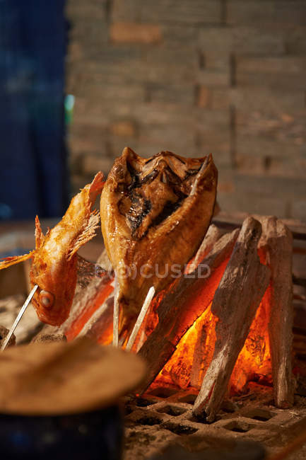 Fish cooking on charcoal — Stock Photo