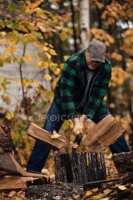 Reife Mann spaltet Baumstämme im Herbst Wald, Upstate New York, USA — Stockfoto